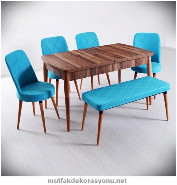 4 sandalyeli mutfak masa takimi bankli