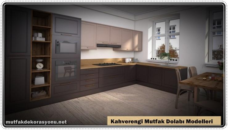Kahverengi Dolap Modelleri Mutfak Dekorasyonu 2021