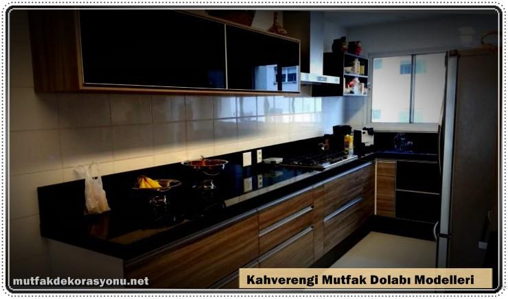 Kahverengi Dolap Modelleri Mutfak