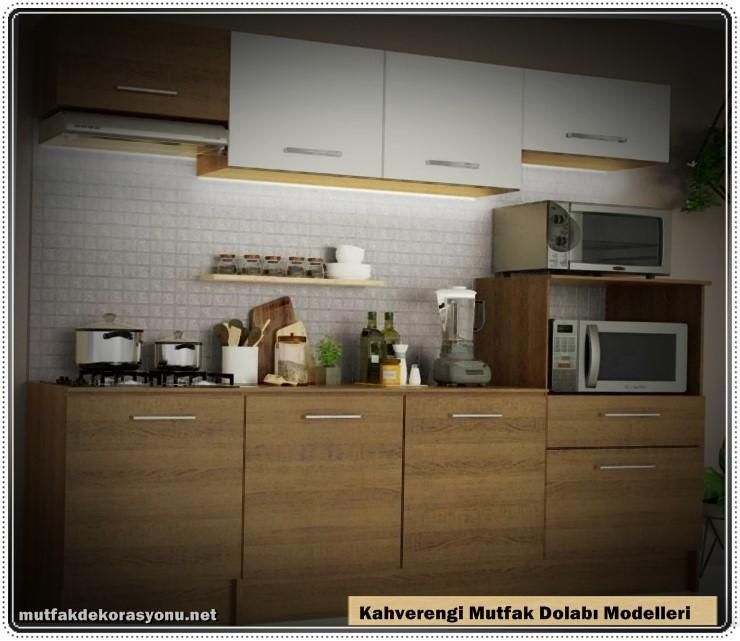 Kahverengi Mutfak Dolabı Dekorasyonu 2021