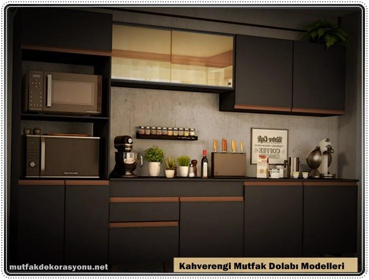 Kahverengi Mutfak Dolabı Dekorasyonu