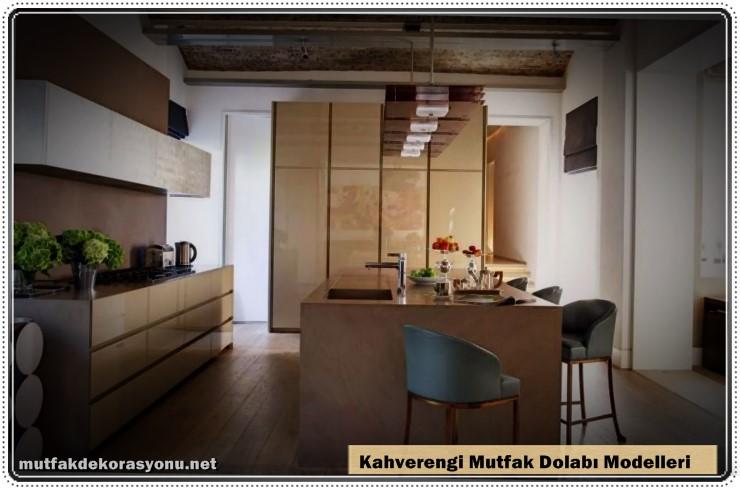 Mutfak Dekoru Kahverengi Dolap Modelleri