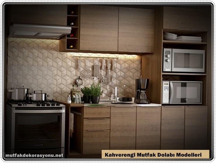 Mutfak Kahverengi Dekorasyon Modelleri Dolaplar