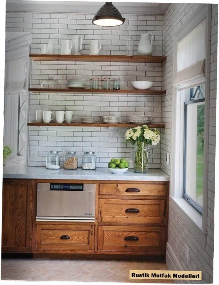 Rustik Mutfak Modelleri : Beyaz ve Ahşap Kombine